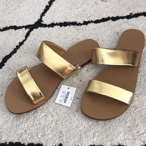 J.Crew gold sandals NWT - size 7